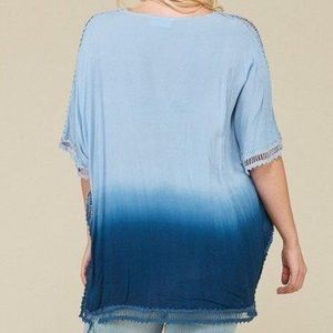 Swim - Plus Size Cover-Up Tunic Top - Ombre Dip-Dye Blue